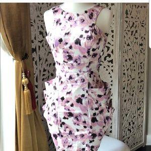 Bebe rose print satin tulip dress size xxs to xs